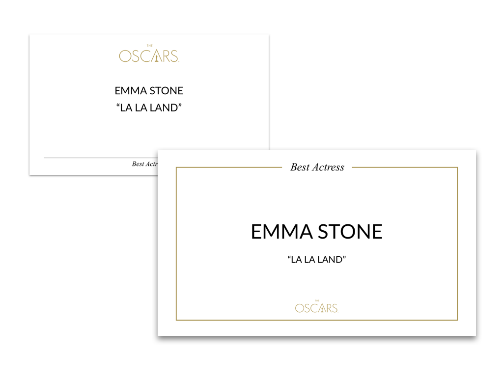 Oscar winner card redesign