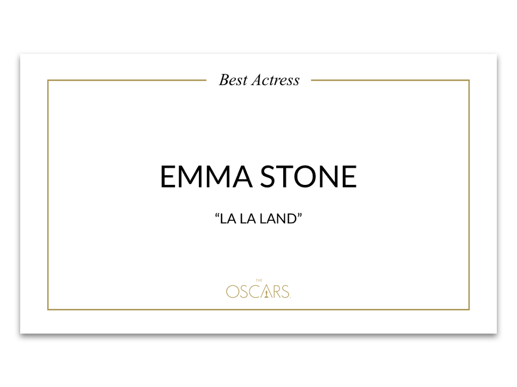 Newly designed Best Actress card